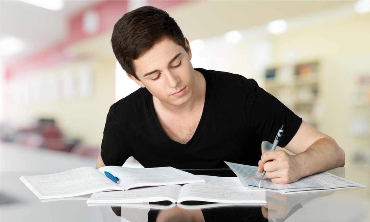 Teenager Student Studying Black Homework University Teenagers Only